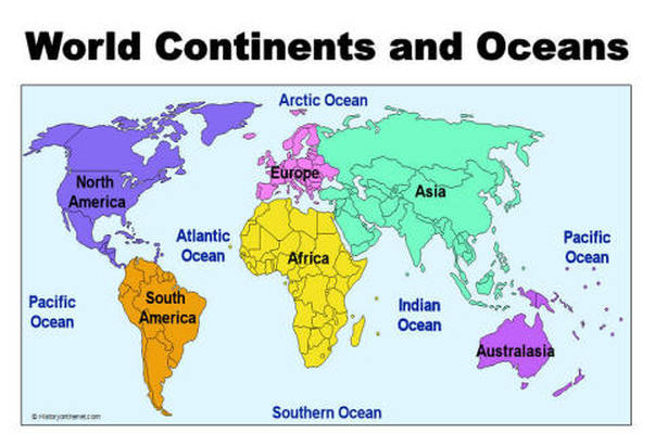7 continents and 4 oceans of the world